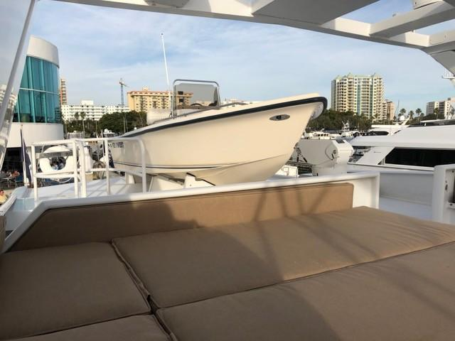 Flybridge - aft sun lounge and Tender