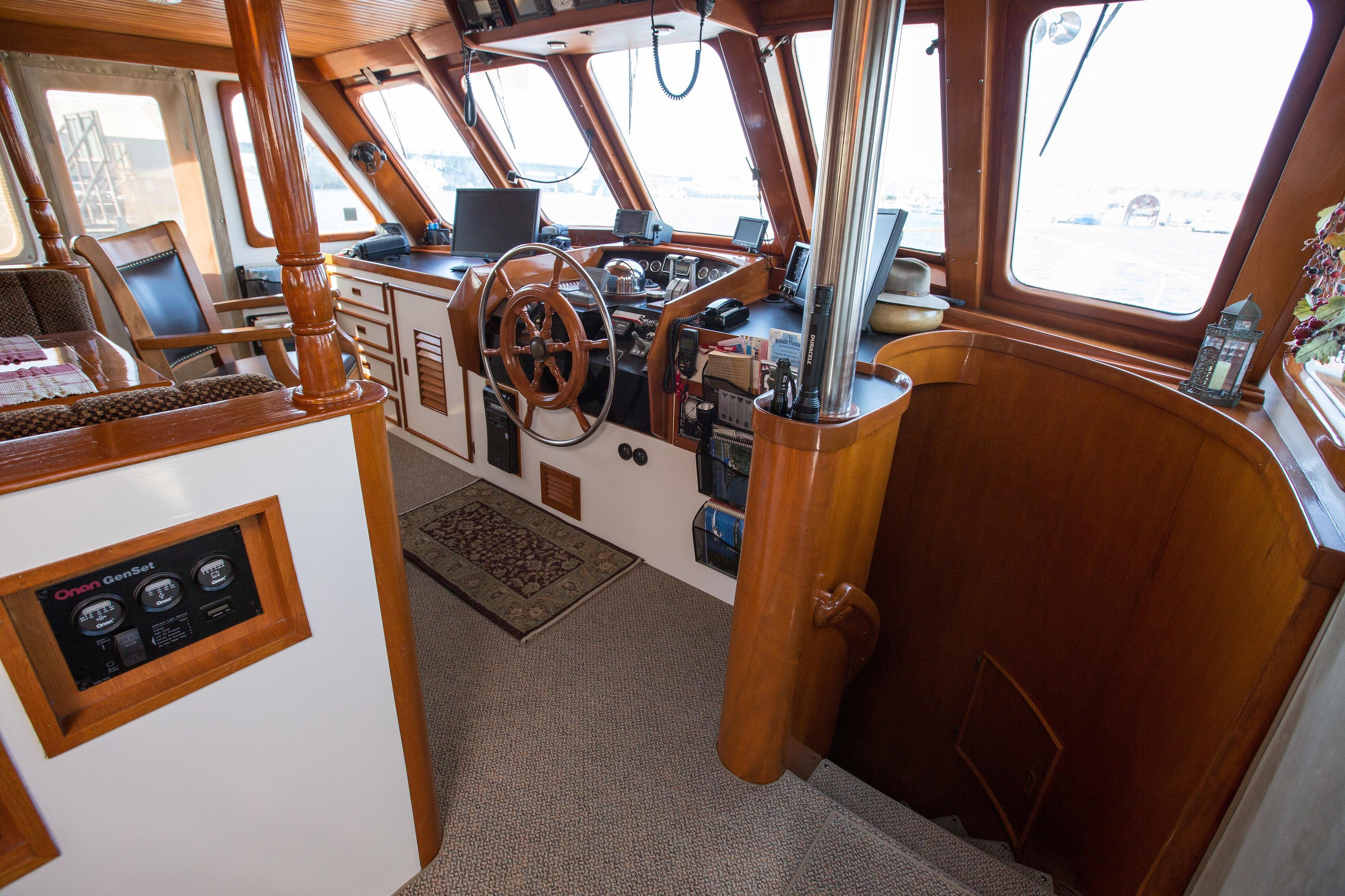 Helm and stairway to staterooms