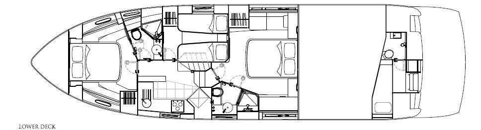 Manufacturer Provided Image: Sunseeker Mahattan 53 Lower Deck Layout Plan
