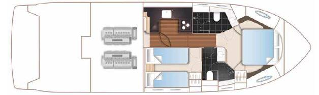 Manufacturer Provided Image: Princess Flybridge 43 Motor Yacht Lower Deck Layout Plan