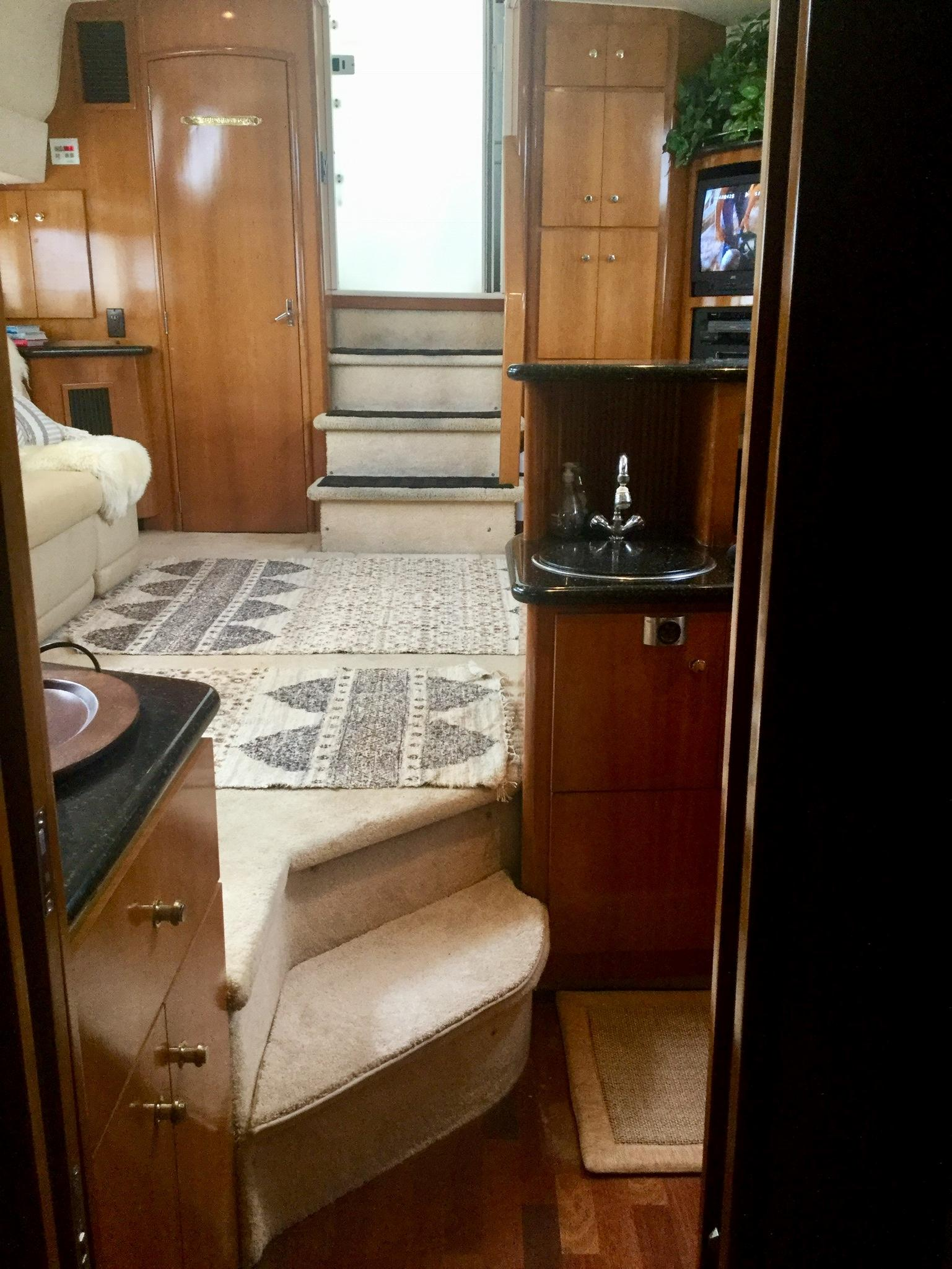 Carver 396 Aft Cabin MY - Salon looking aft from Galley
