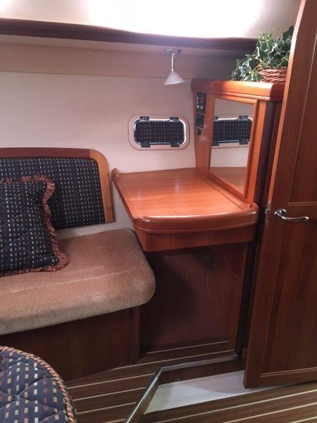 Makeup/desk area in aft cabin