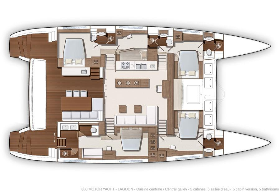 Manufacturer Provided Image: Lagoon 630 5 Cabin Layout Plan
