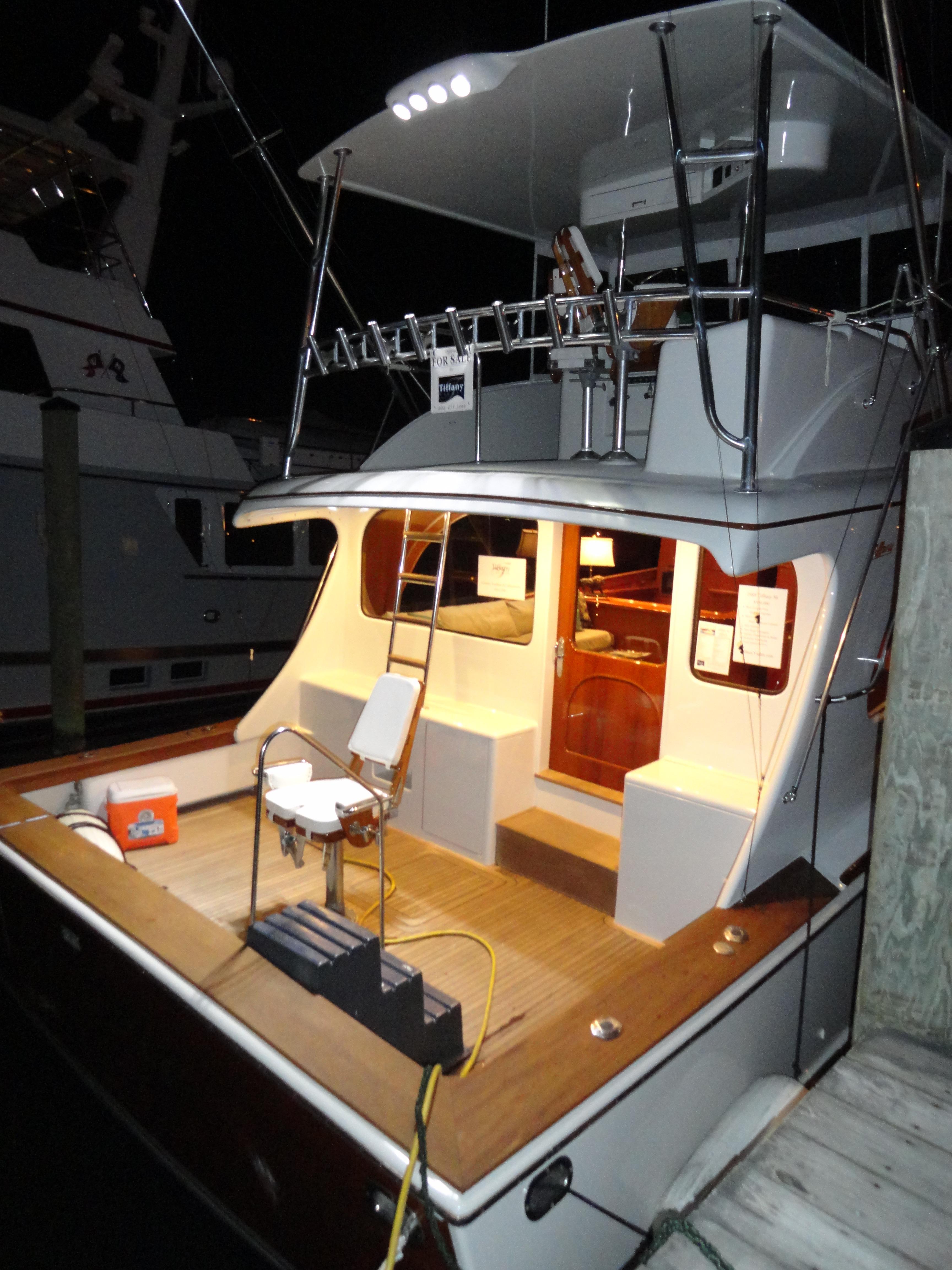 Tiffany 56 Sportfish Cockpit at Night