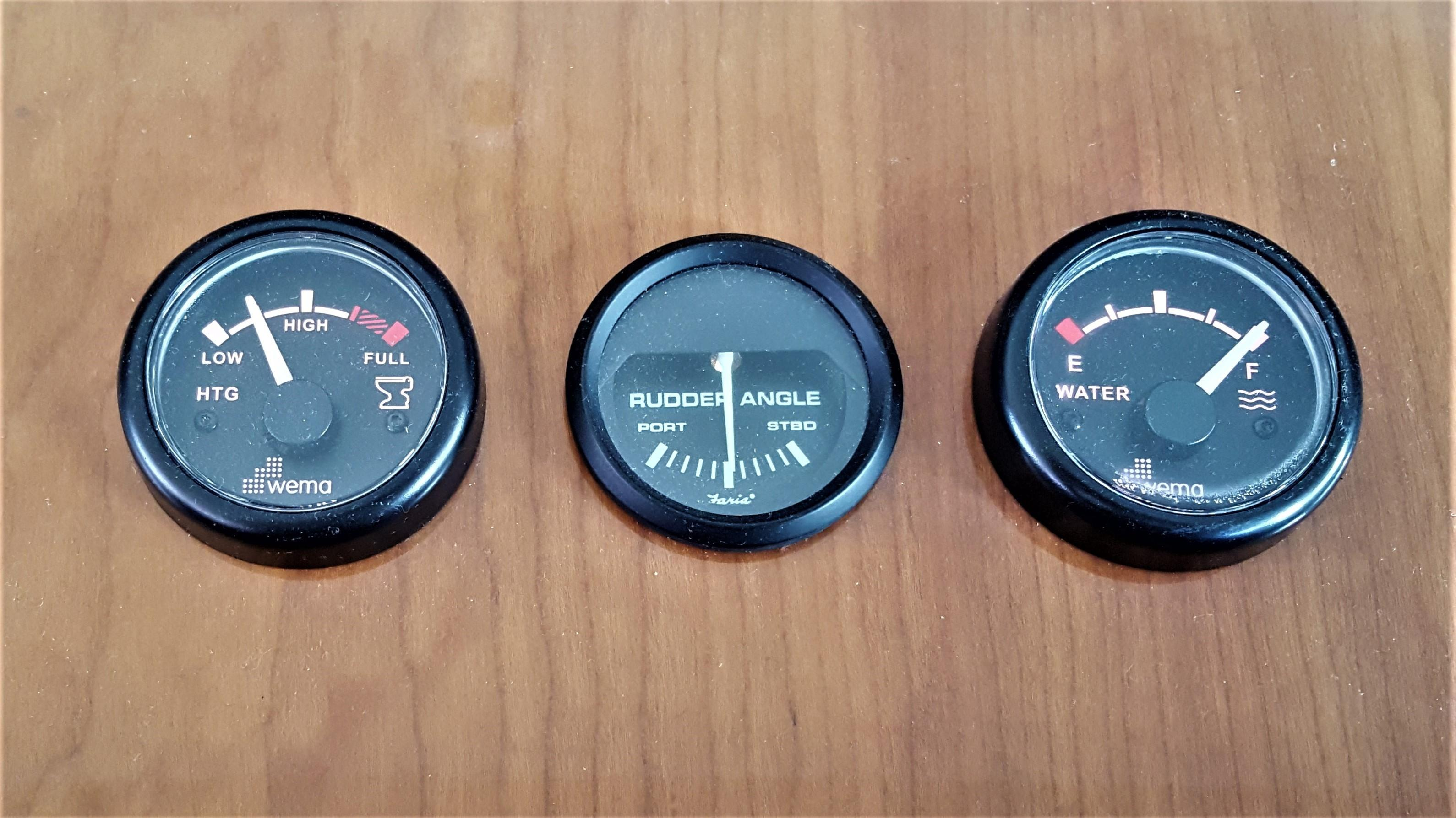 Gauges for Waste, Fresh Water & Rudder Angle