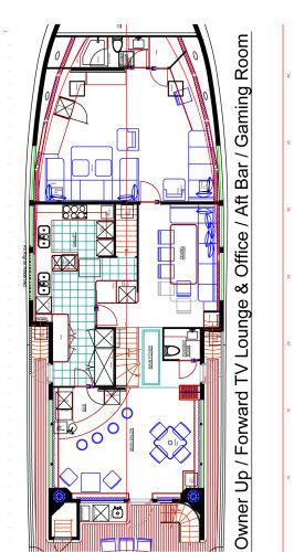 Owner UP/Forward TV Lounge & Office/ Aft Bar/Gaming Room