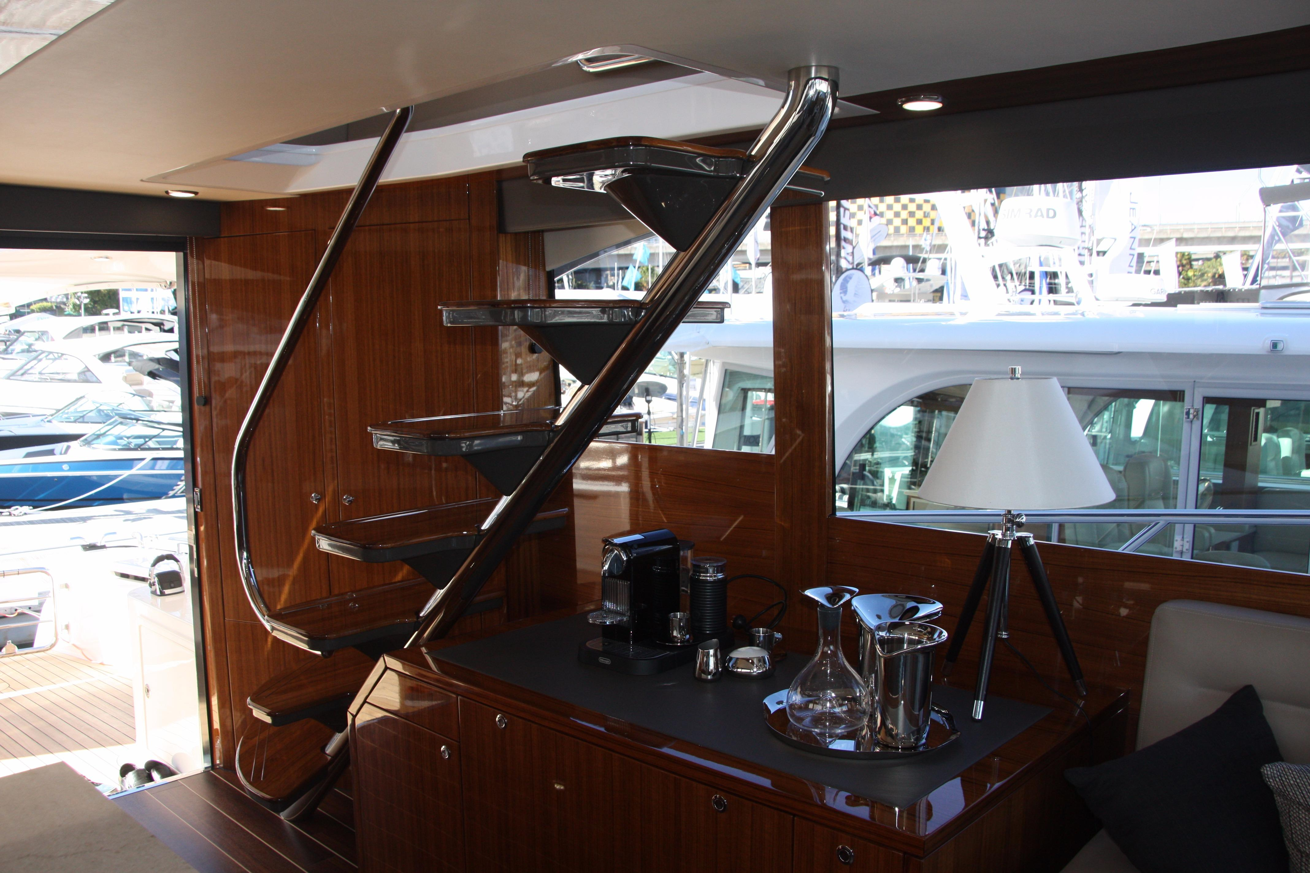 Stairway from Galley to Fully Enclosed Flybridge