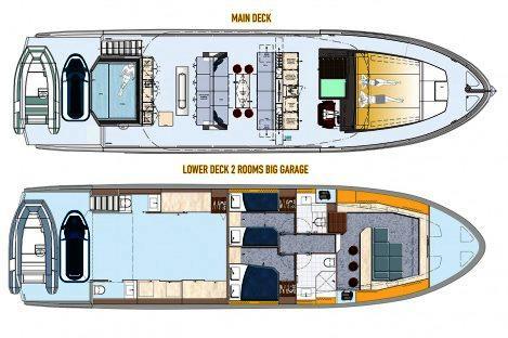 Top Deck 65 layout 2 Cabins, Big Garage