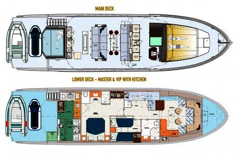 Top Deck 65 layout 2 Cabins, Big Galley on Lower Deck