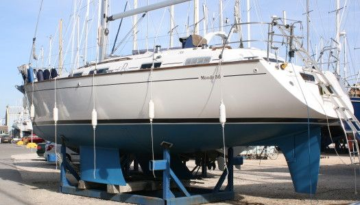Very spacious and easy-to-sail, Moody 36, centre cockpit with bilge keels.