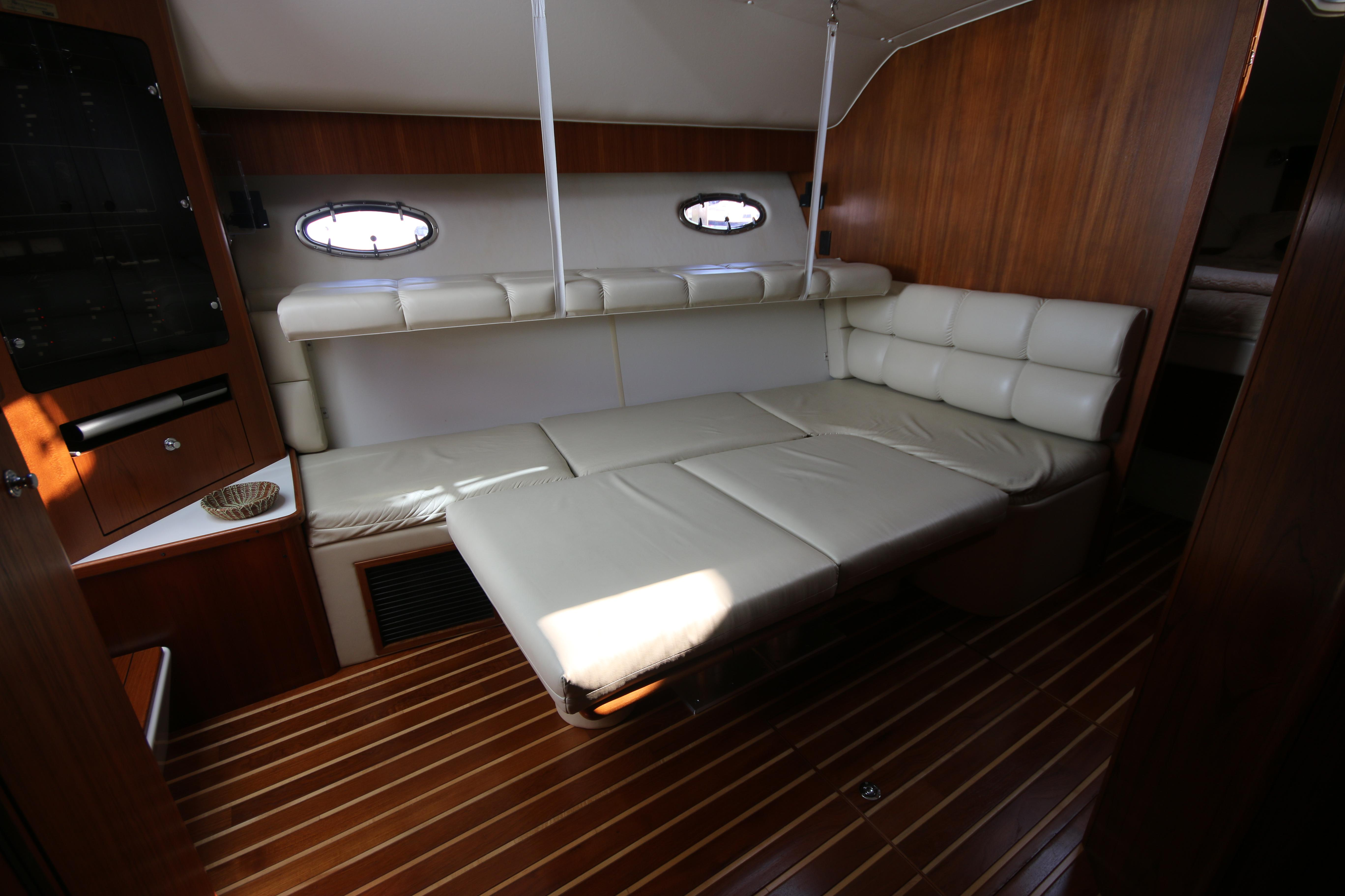 The Salon Area Offers Privacy For Guests When The Companionway Is Covered With The Custom Vinyl Shade.