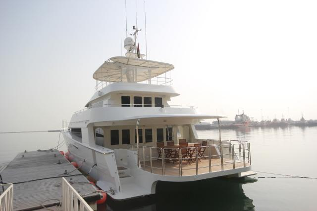Moored stern view