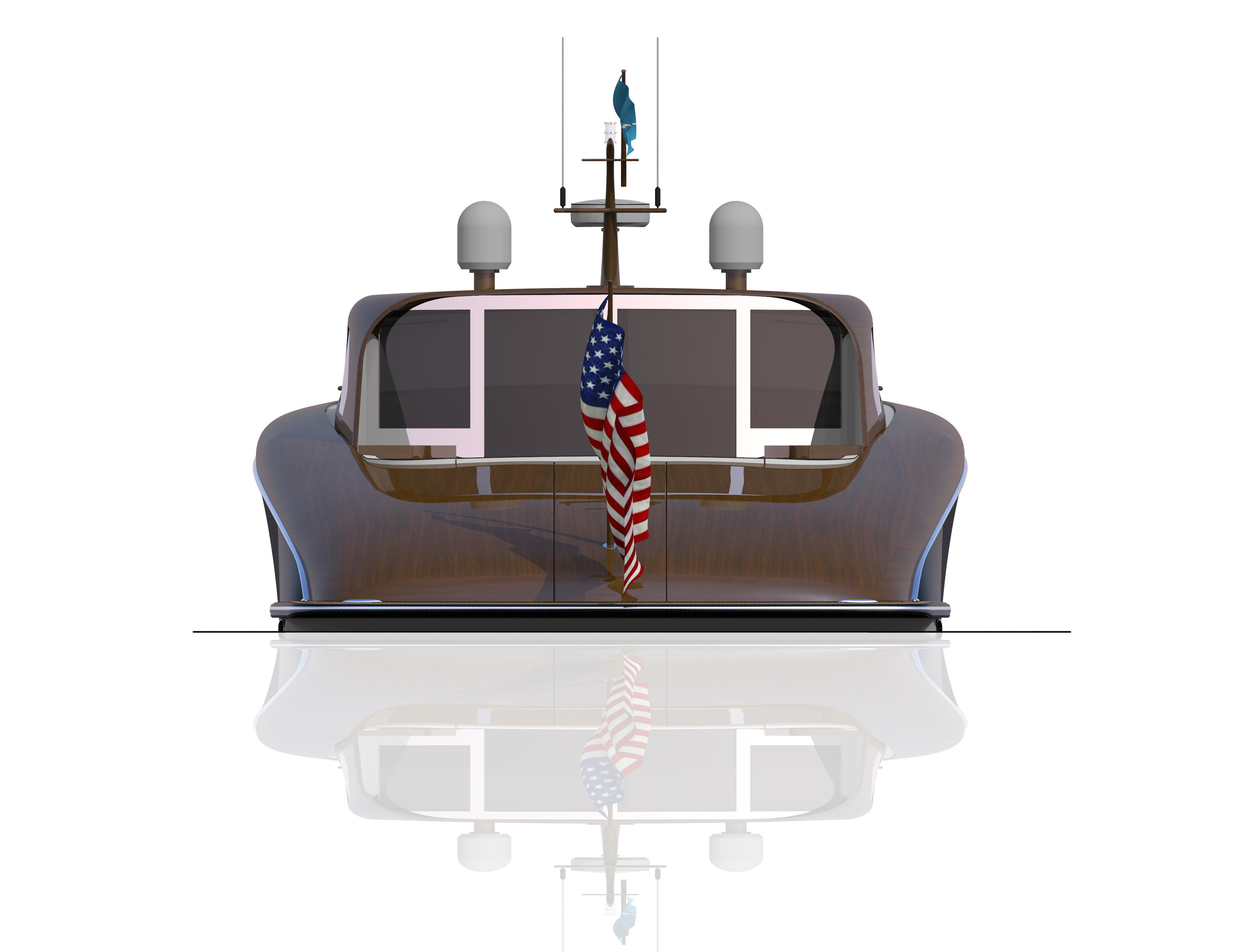 60' Sport Boat Stern View