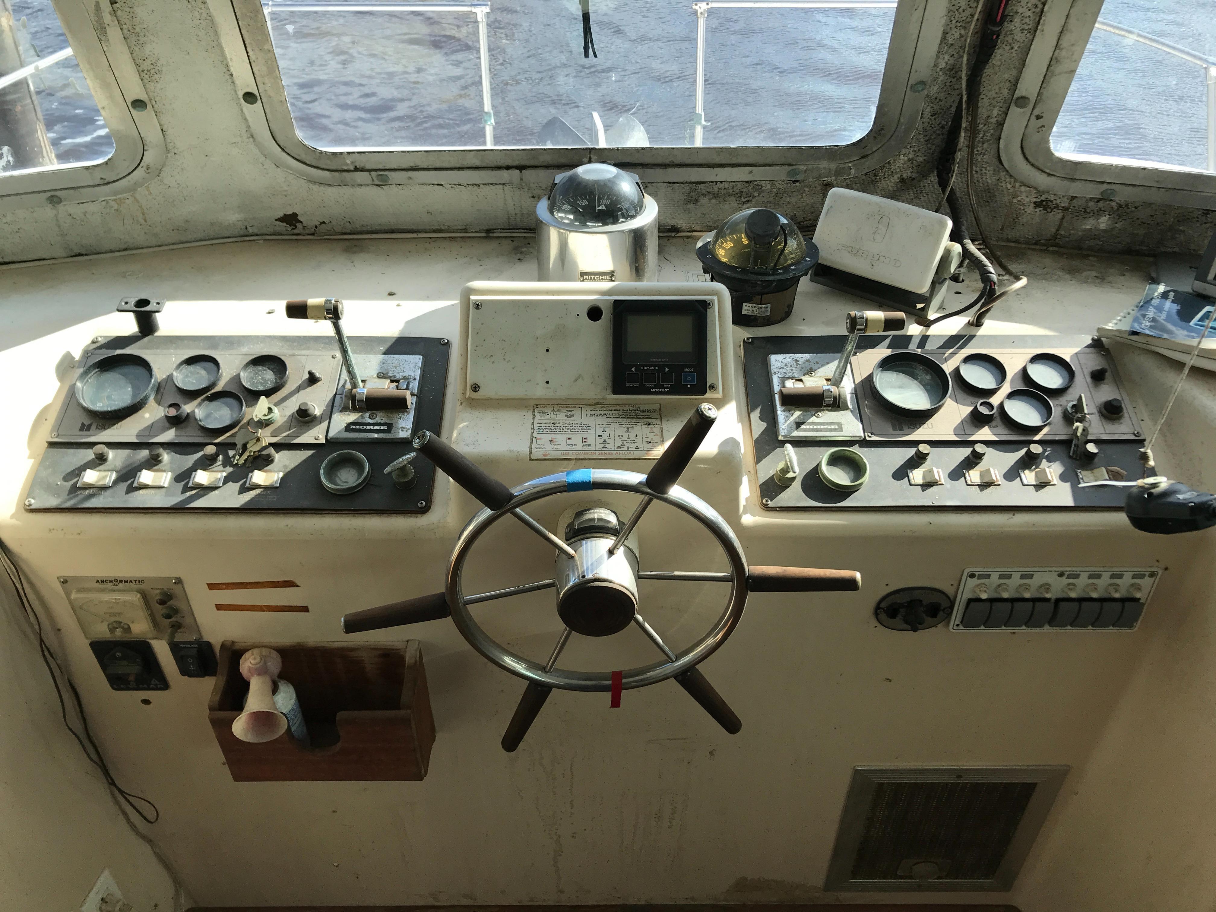 Carri-craft 57 Catamaran - lower helm station