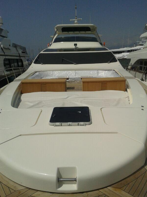 Front view of the yacht extremely spacious cockpit, settee