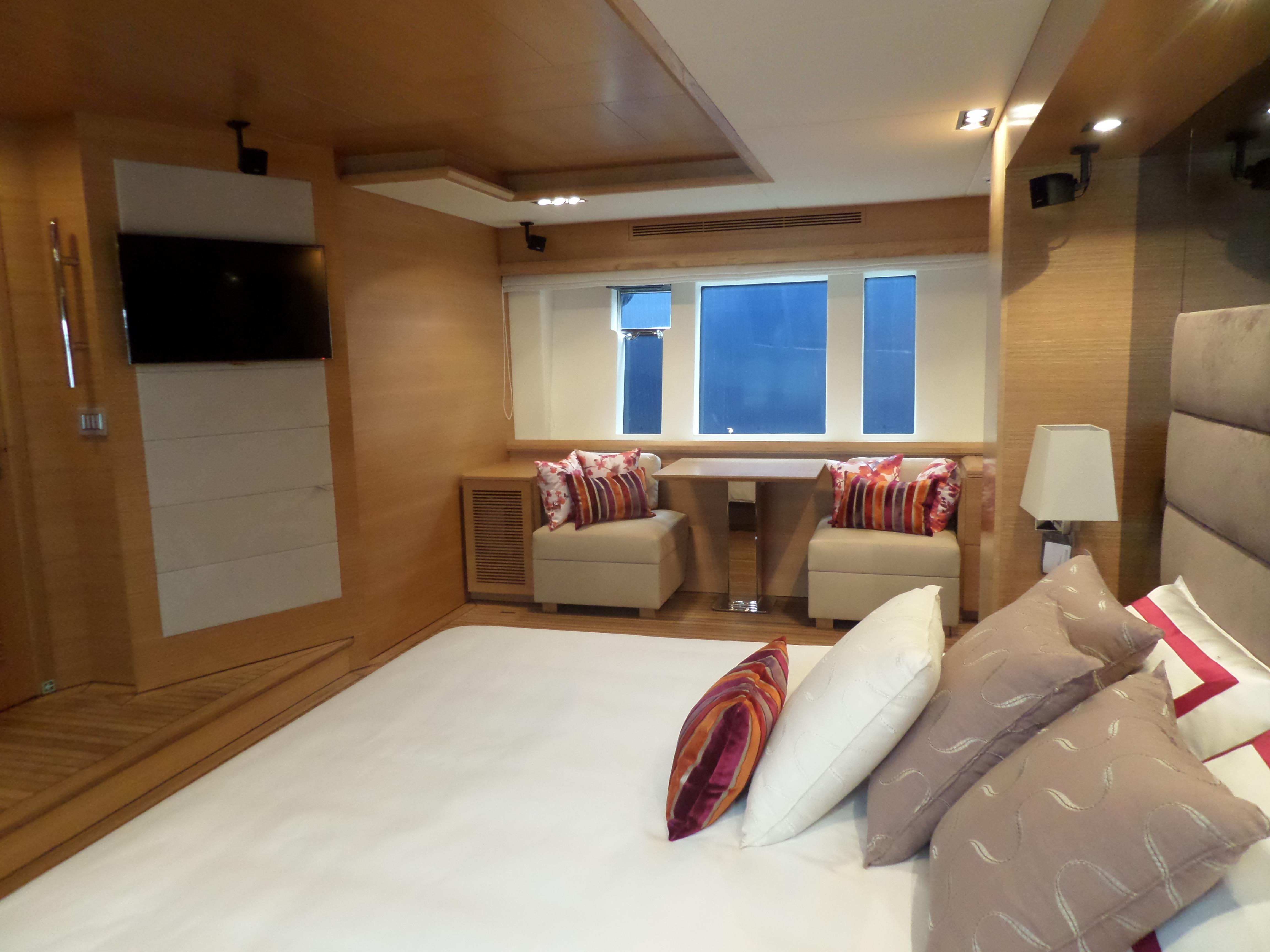 Master cabin, dinette side of large window