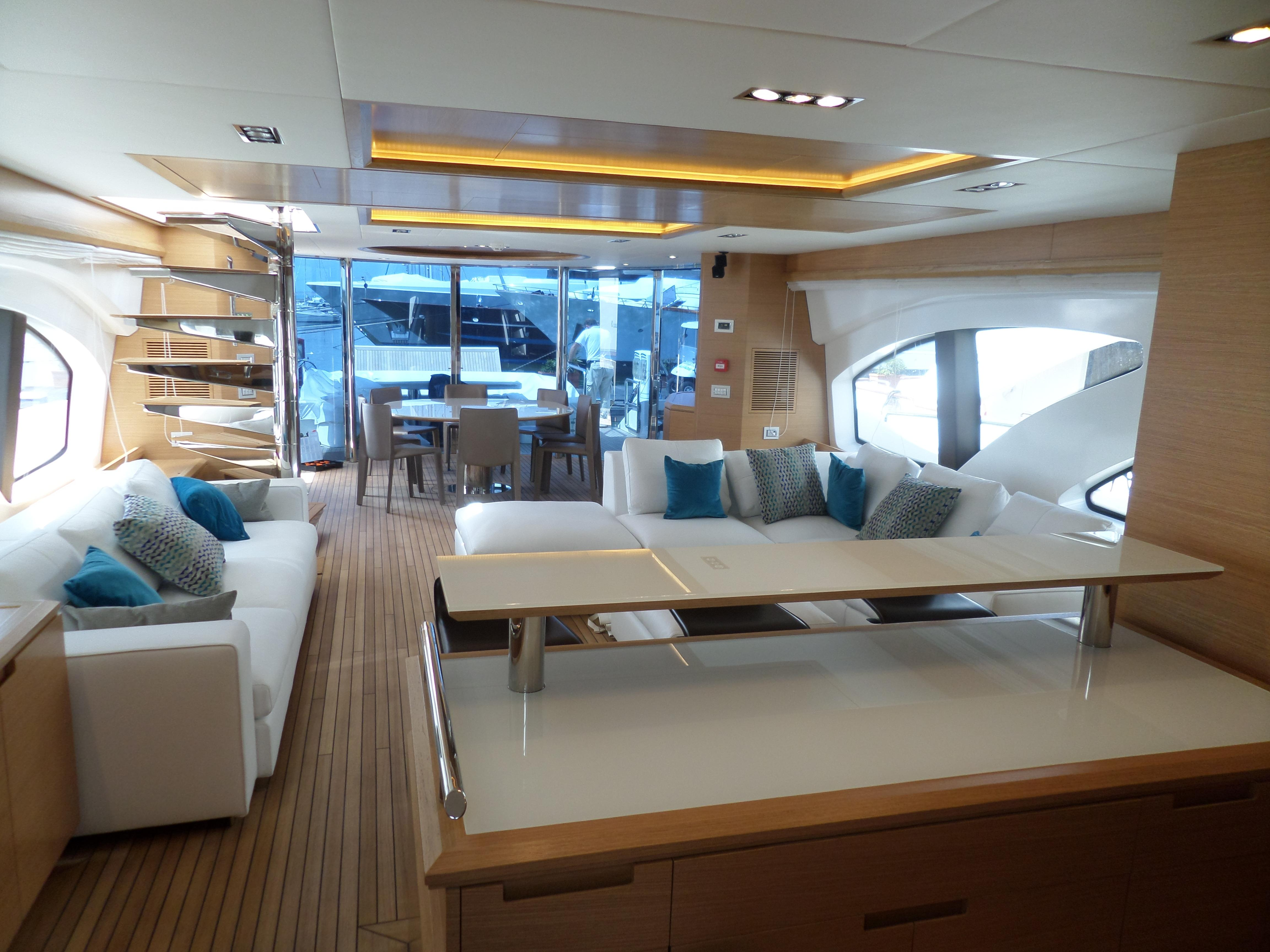 Starboard Side Dinette and Table,  Settee on Port Side. Large Windows