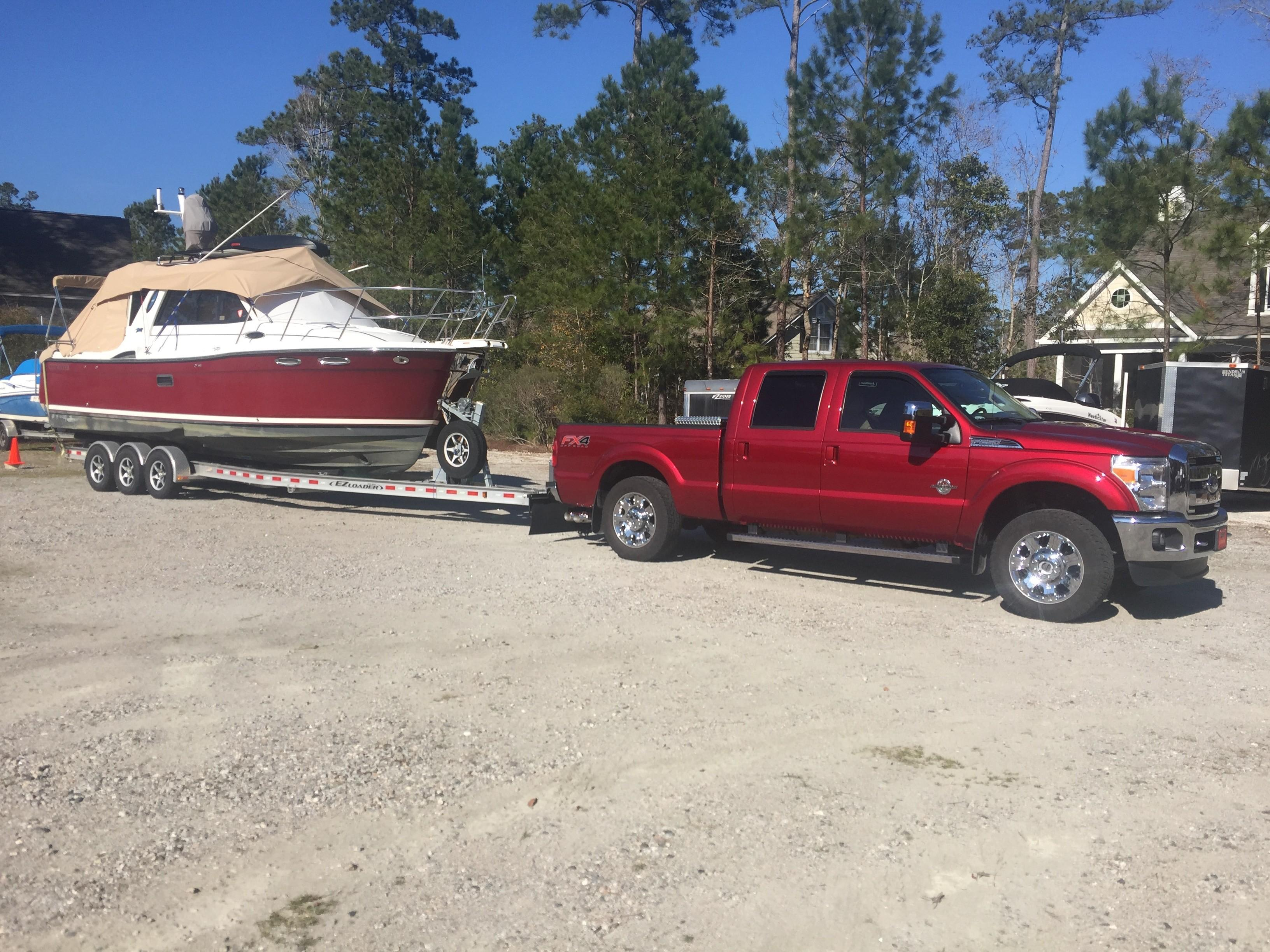 Cutwater C-28 - On Trailer with sun covers in place