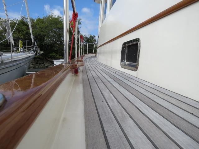 deck, note fibreglass waterways, hi rail, bulwark