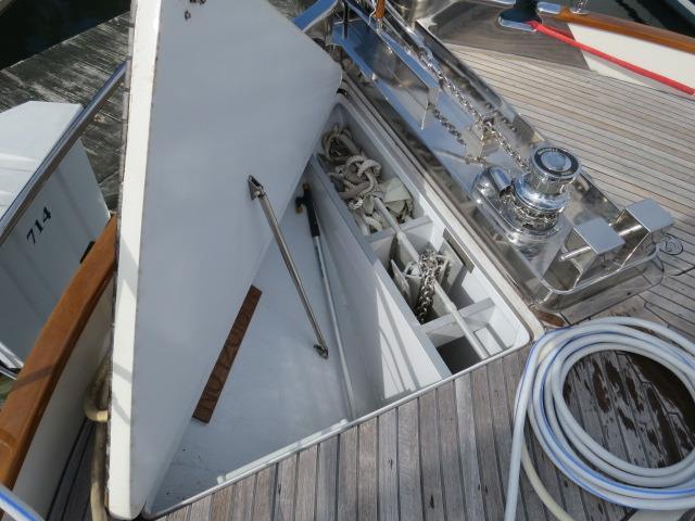 huge anchor locker and anchor tray