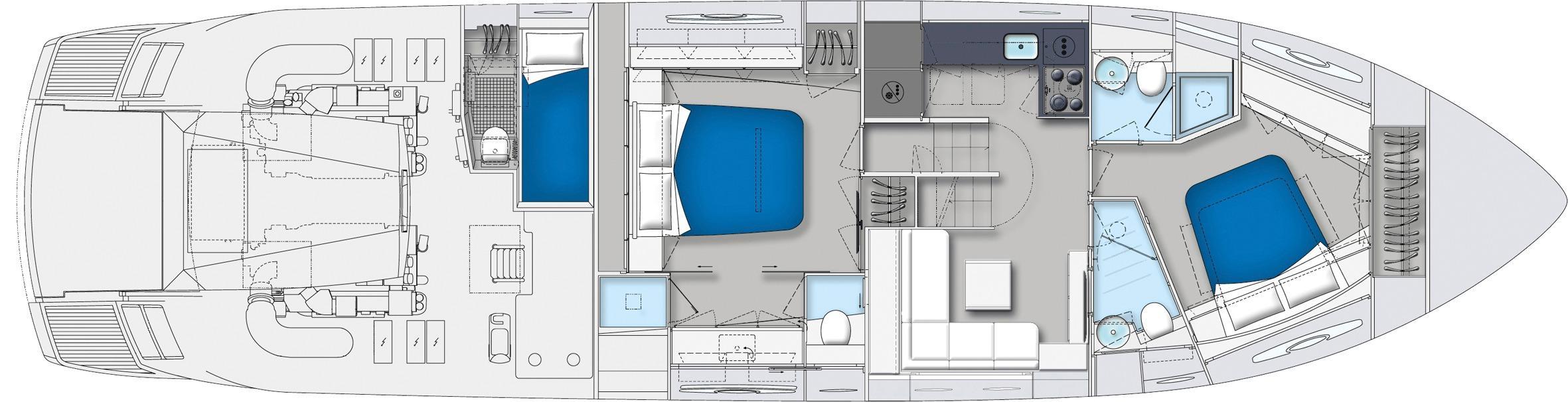 Manufacturer Provided Image: Pershing 62 3 Cabin Layout Plan