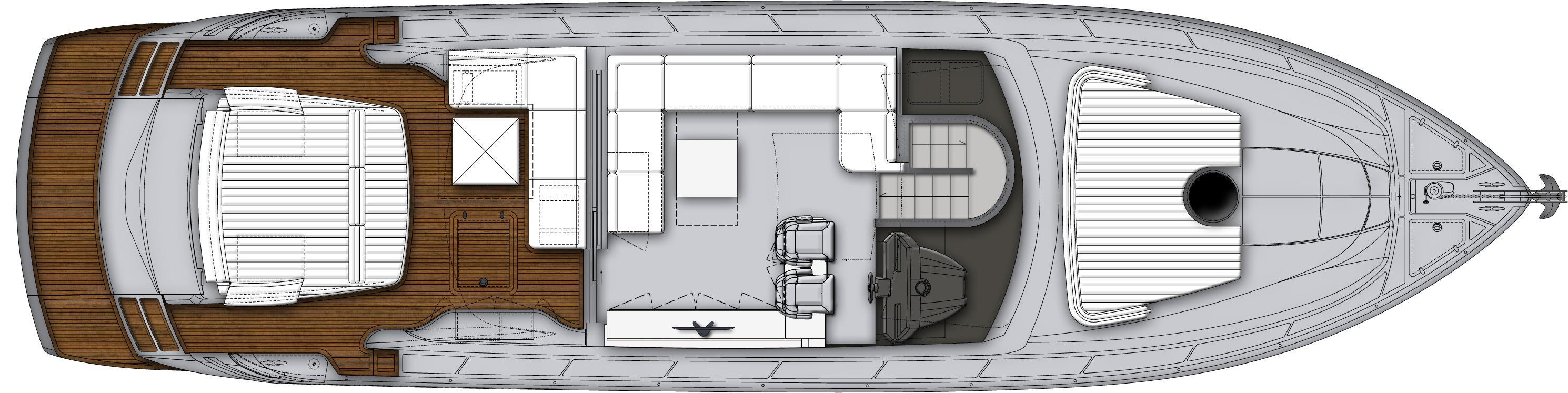 Manufacturer Provided Image: Pershing 62 Upper Deck Layout Plan