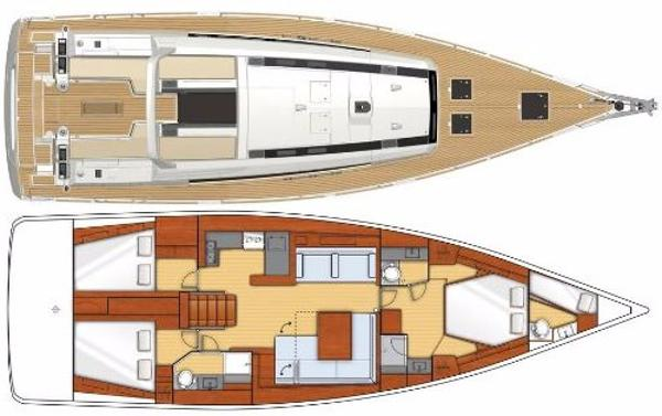 Beneteau Oceanis 55 layout with crew cabin