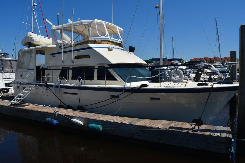 Hatteras 43 Motor Yacht - Starboard at the Dock