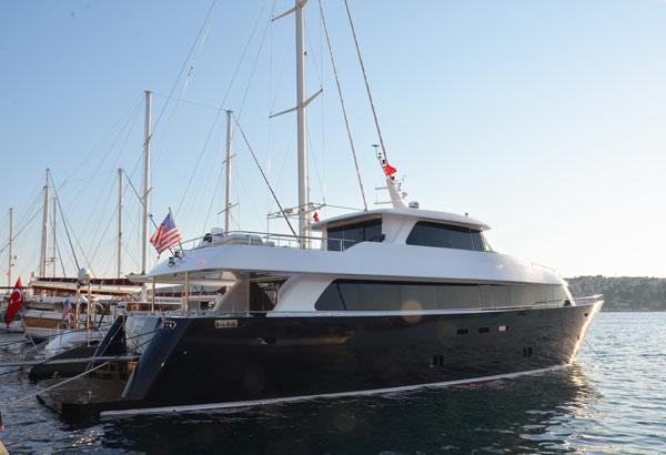 28 M Steel Motoryacht Nimir In The Harbour