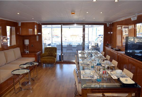 Spacious Salon With Glass Table And Big Sofa
