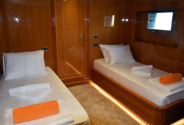 28 m Steel Aegean Yacht Motoryacht Nimir twin cabins