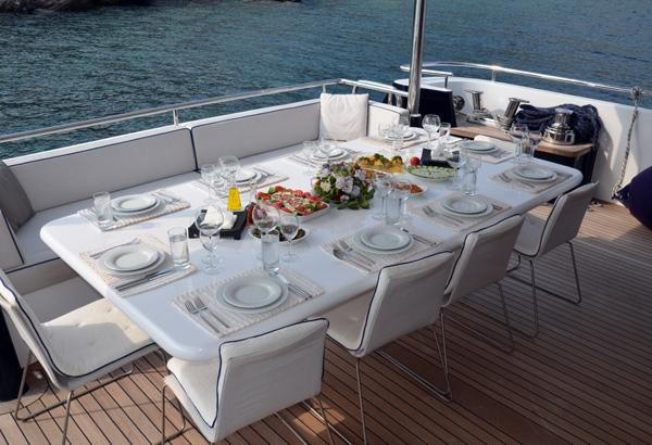 Nimir Aft Deck Dining Table Can Serve Up To 12 Guests On Board.