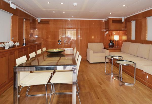 Spacious Salon With Glass Table And A Big Sofa