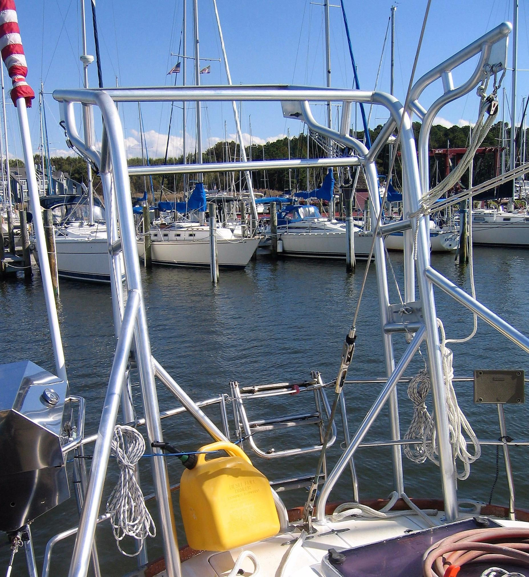 Custom Davits w/Outboard Crane