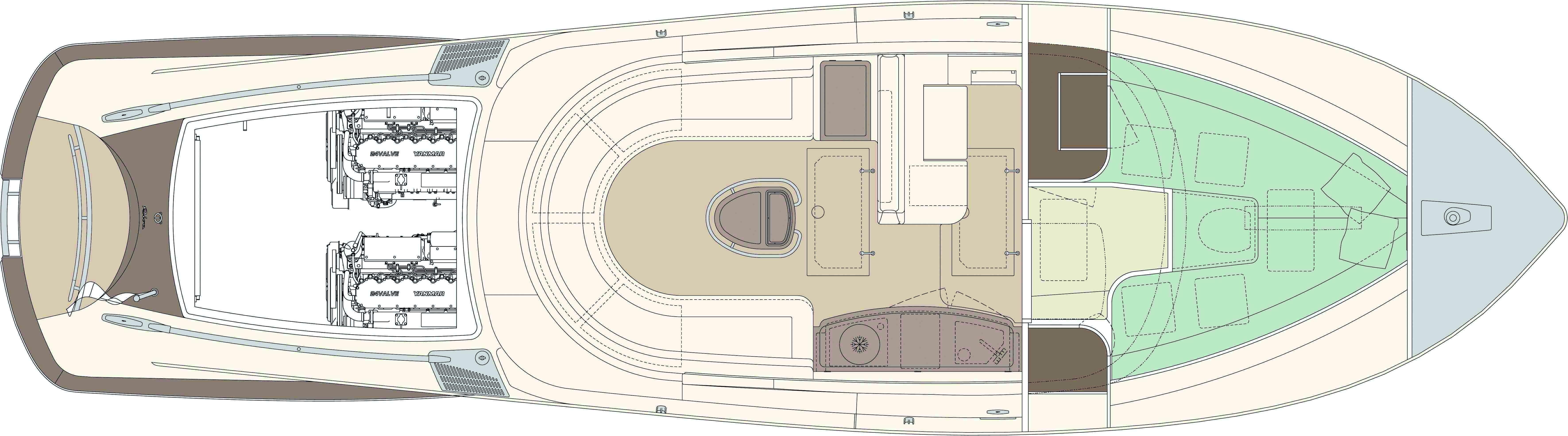 Manufacturer Provided Image: Riva Aquariva Super Lower Deck Layout Plan