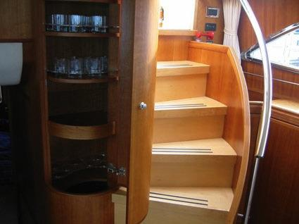 Drinks cabinet and steps to aft deck
