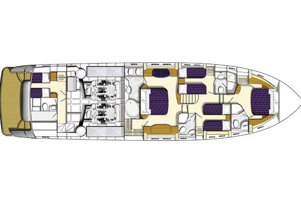 Princess 23M- Lower Deck Layout