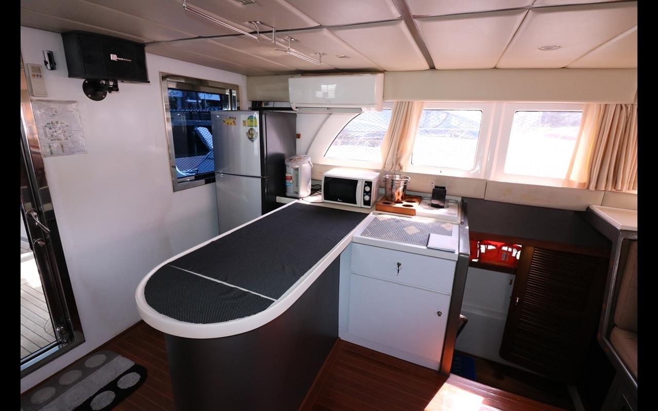 Galley counter top, microwave, fridge
