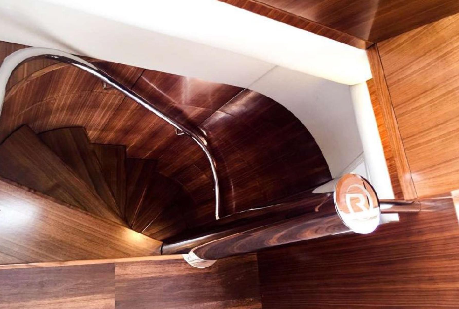 Spiral Stairs from main salon to flybridge/sky-lounge