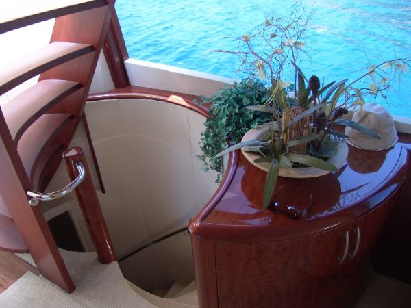 Spiral stairway to staterooms