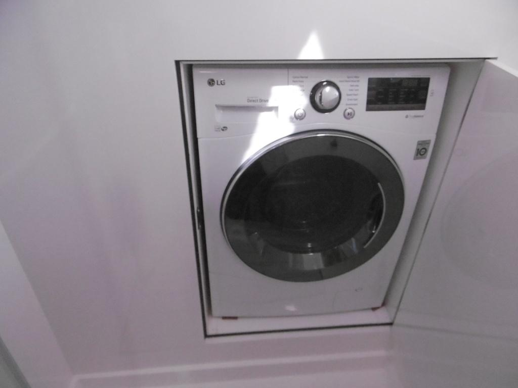 Washer dryer with door in shower