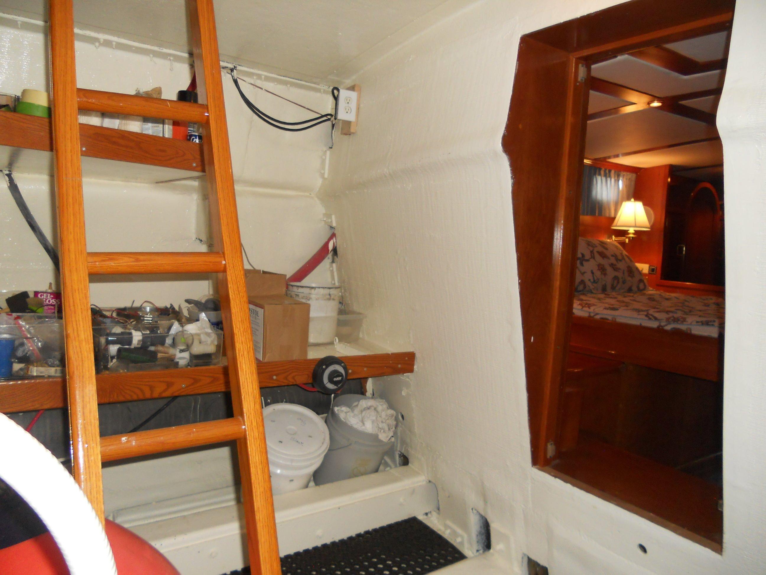 Lazaret ladder up to deck