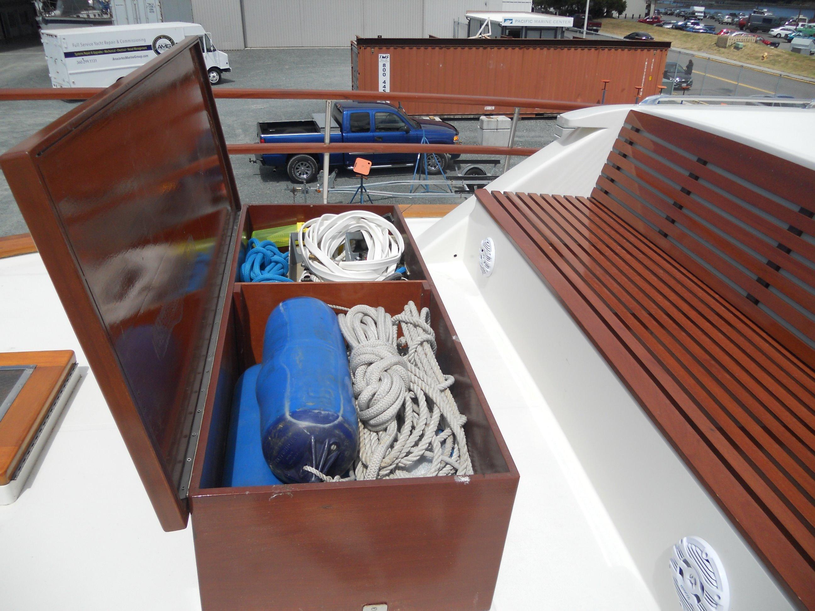Custom teak deck storage