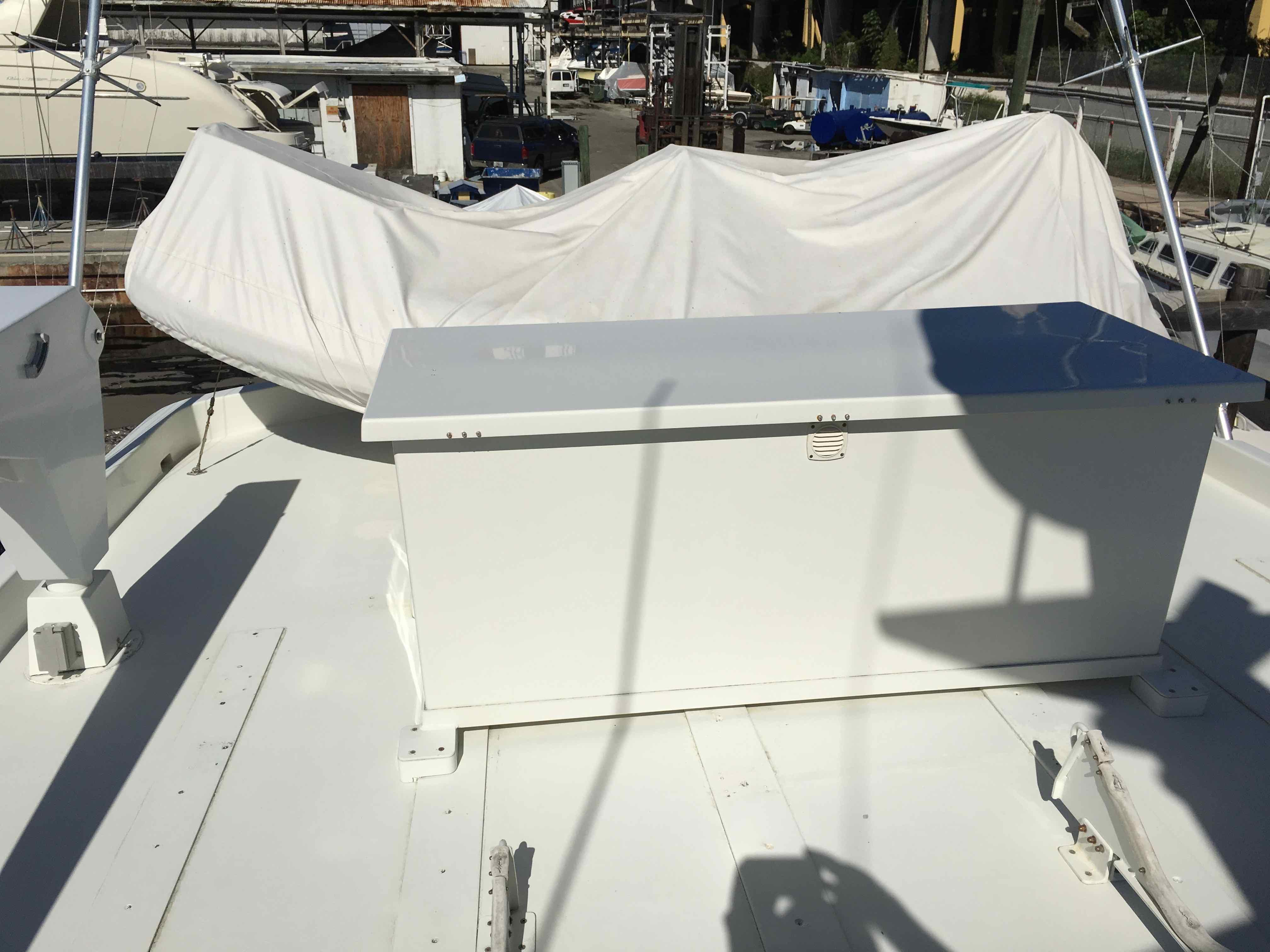 Hatteras 74 CPMY Locker Box, Dinghy covered