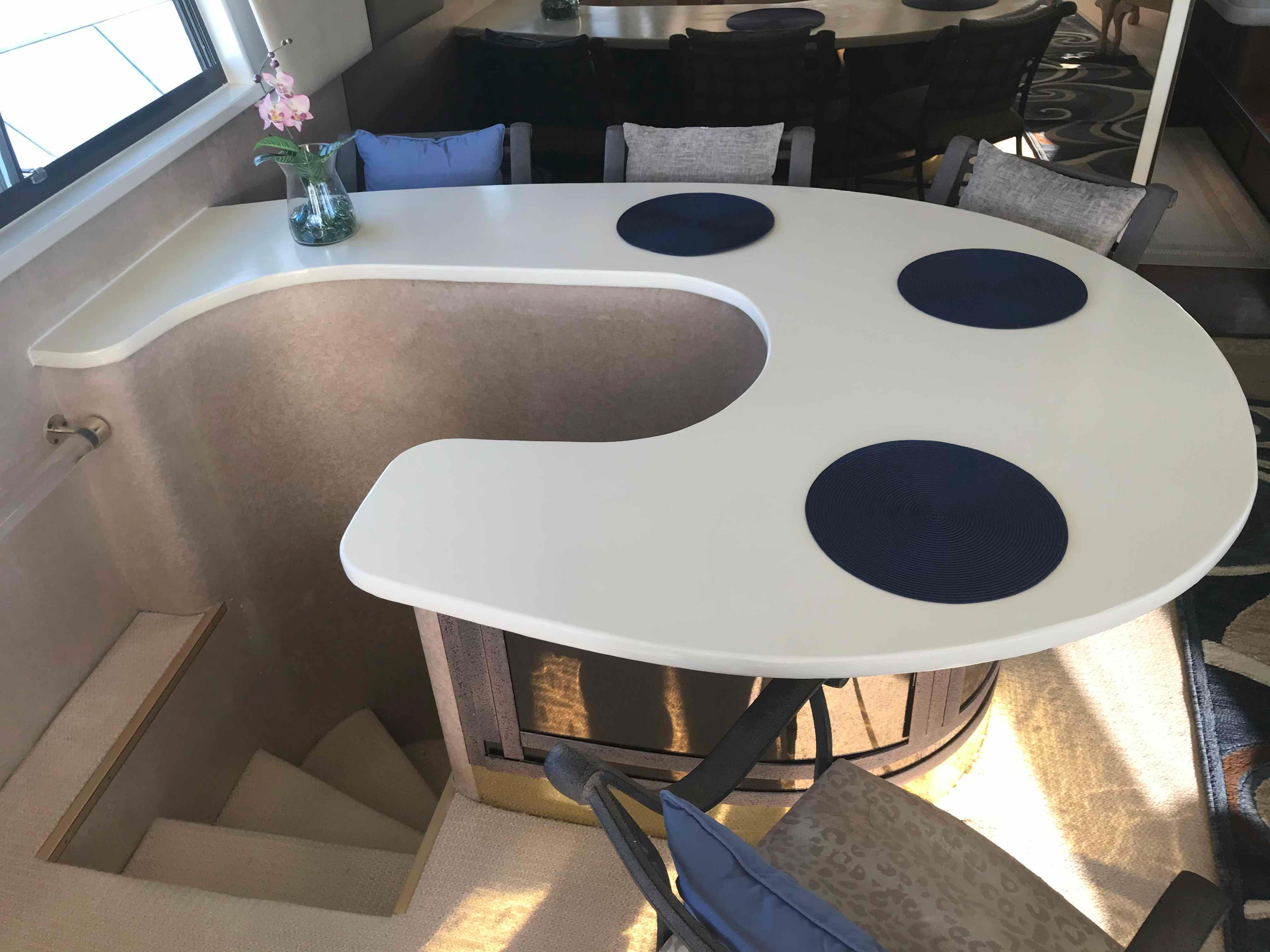 Hatteras 74 CPMY Solid Surface Refinished Aug 2019