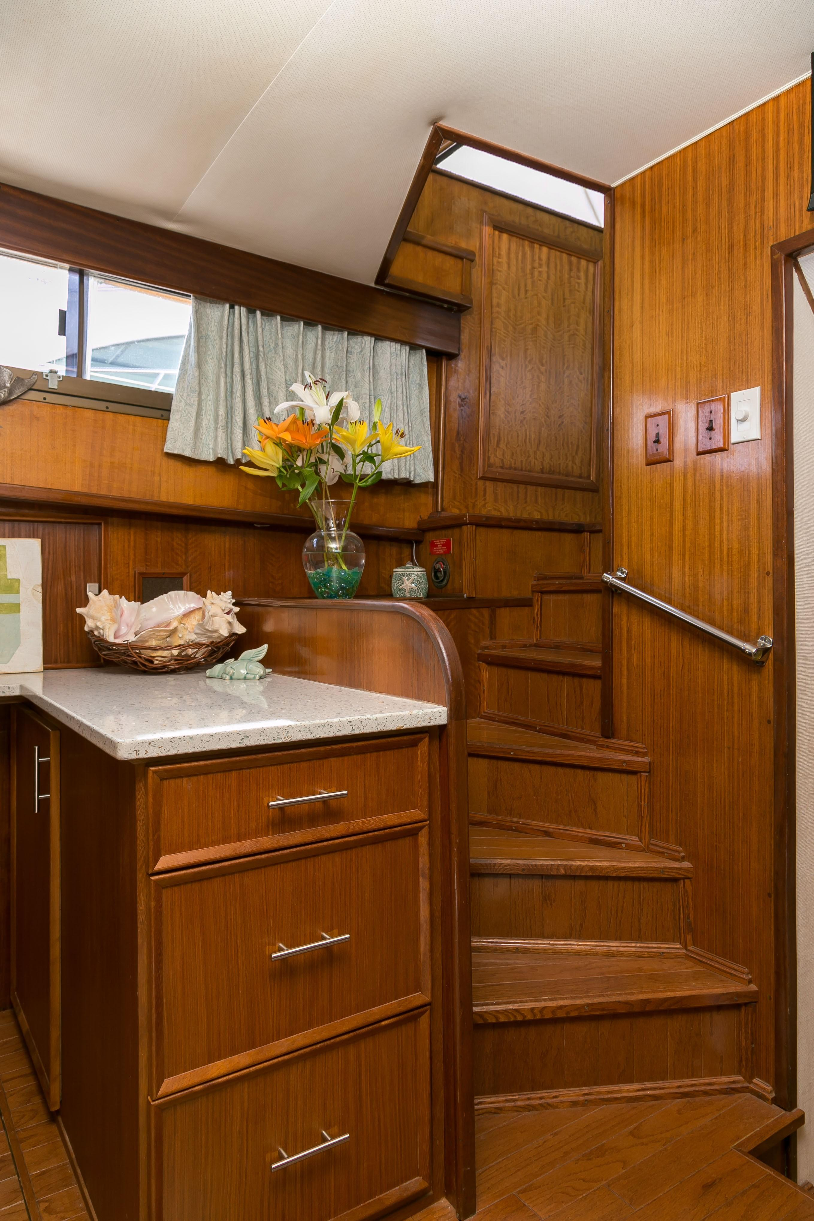 Hatteras 53 Motor Yacht - Companionway from pilothouse to galley