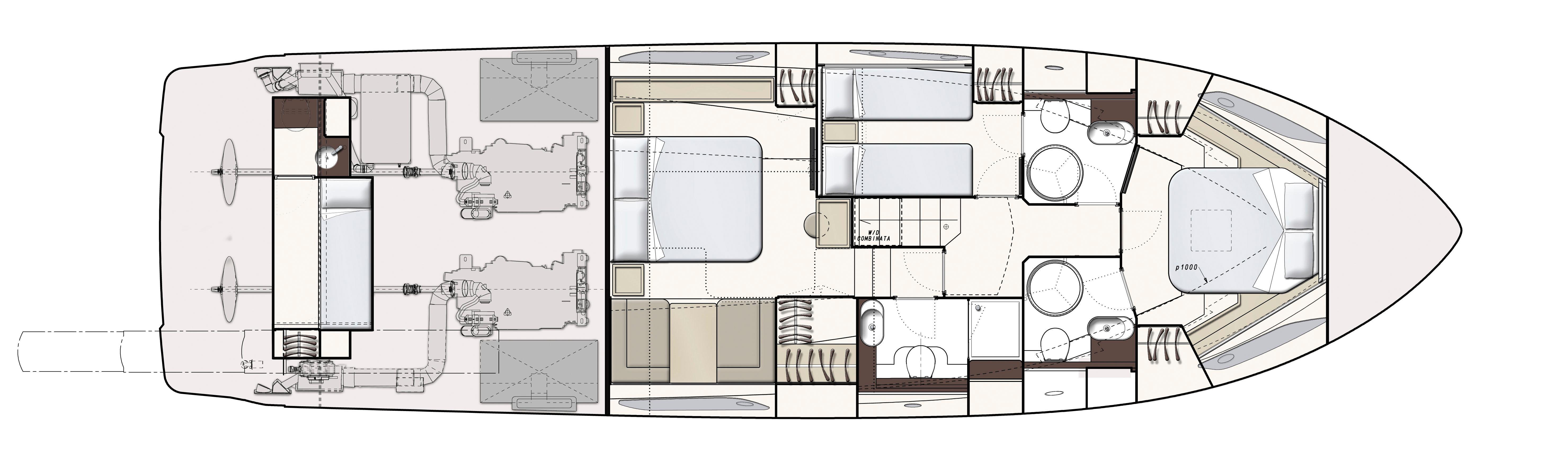 Ferretti 550 Optional Lower Deck Layout Plan