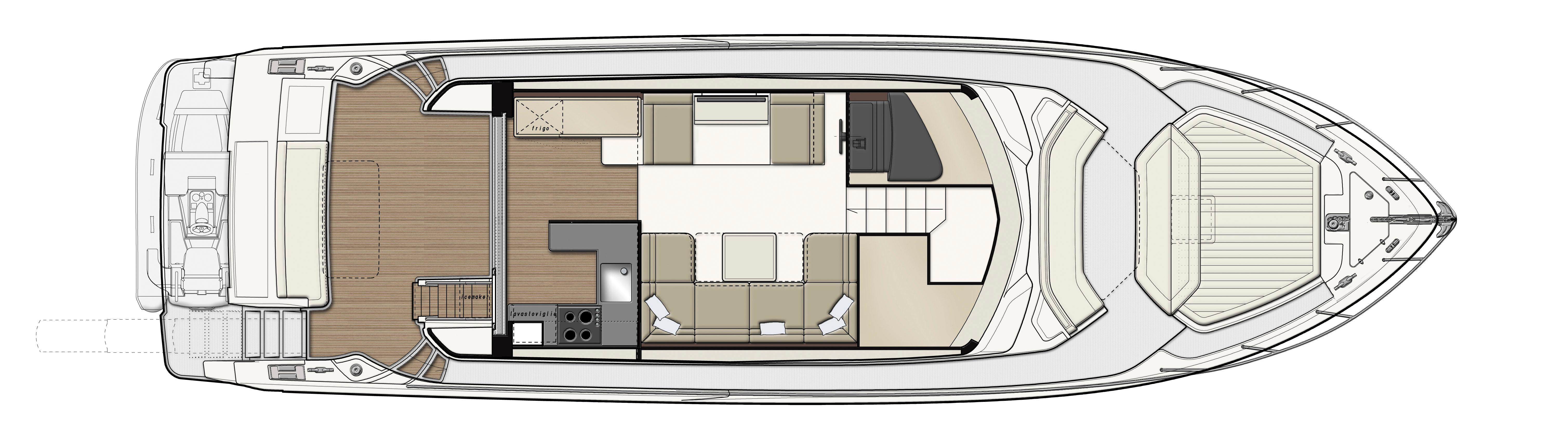 Ferretti 550 Upper Deck Layout Plan