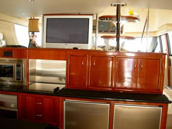 Galley Cherry Cabinets - Subzero Stainless Ref/Freezer