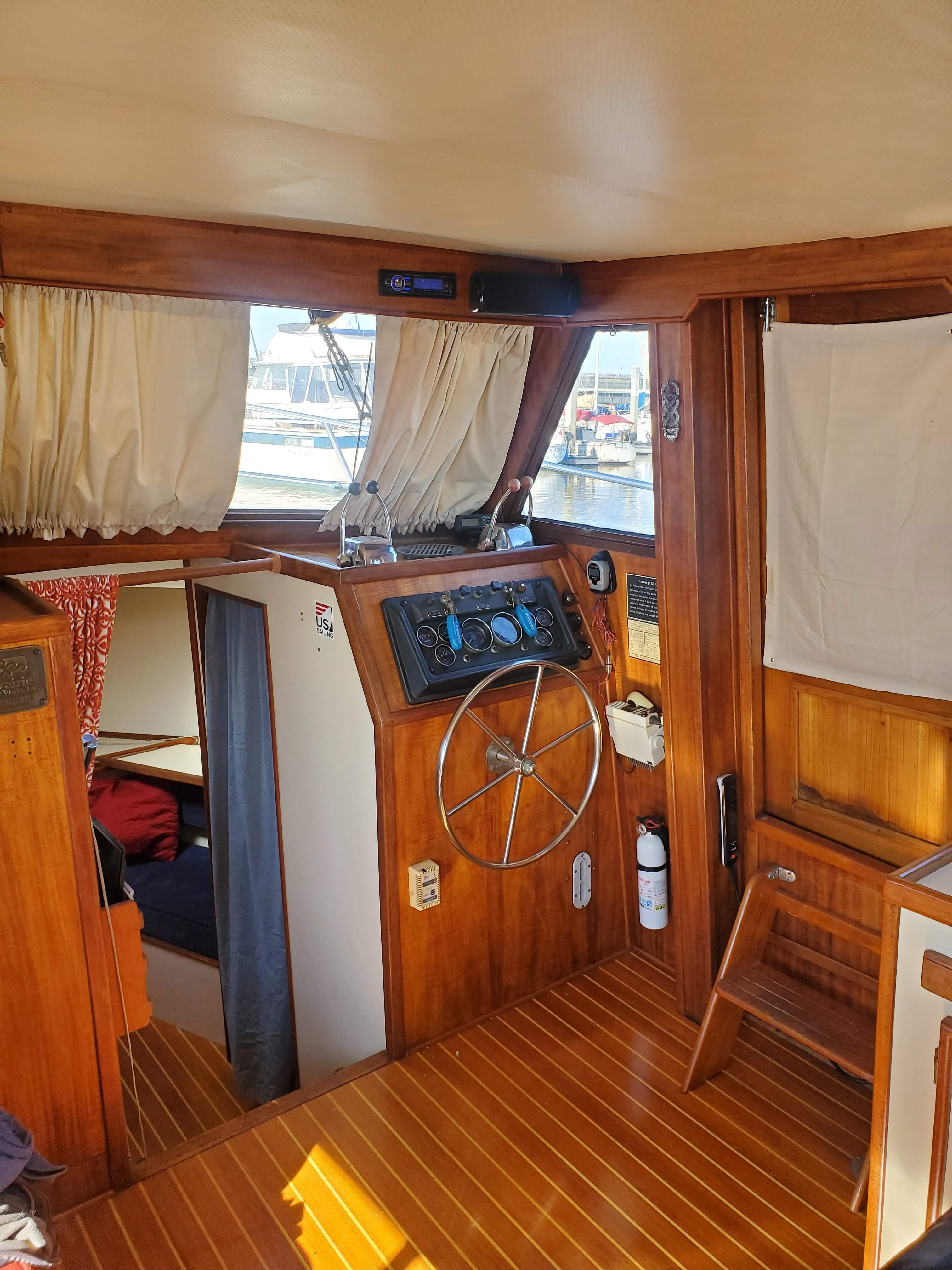 Prairie Boat Works 36 Dual Cabin - Lower Helm-Teak and Holly flooring